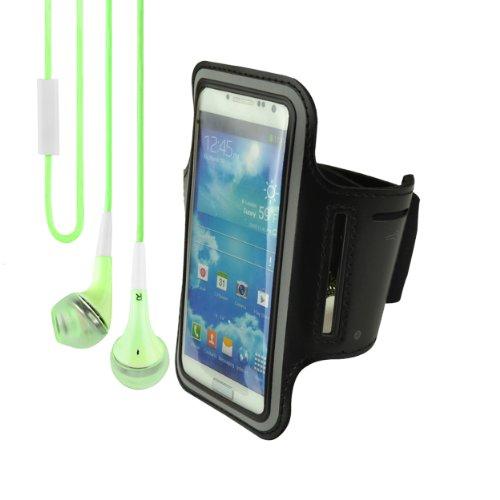 Universal Neoprene Workout Armband For Motorola X Phone / Motorola Droid Razr Maxx (Black) + Vangoddy Headphone With Mic ,Green