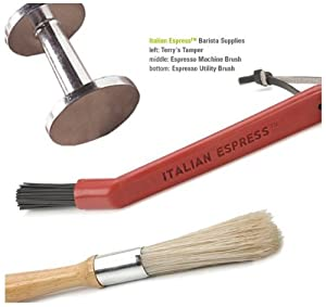 Espresso Barista's Tool Set Kit - Tamper, Utility Brush and Machine Cleaning Brush by RSVP