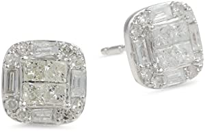10k White Gold Diamond Cushion Cut Stud Earrings (1/2 cttw, H-I Color, I2-I3 Clarity) from Amazon Curated Collection