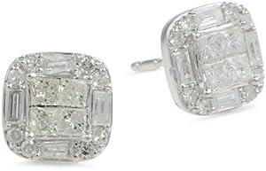 10k White Gold Diamond Cushion Cut Stud Earrings (1/2 cttw, H-I Color, I2-I3 Clarity)