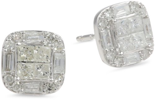 10k White Gold Diamond Cushion Cut Stud Earrings