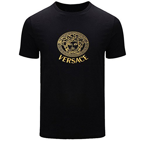 Meyee Nadigt Versace Gold Logo For 2016 Men Printed Short Sleeve Tee T-shirt