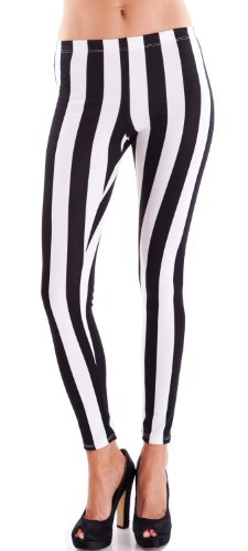 White Black Ladies Vertical Striped Leggings, USA Made - S, M or L