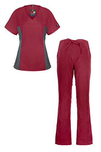 MediFit Women's Mock Wrap Medical Top & Pants Scrub Set(SET-MED,WIN-S)