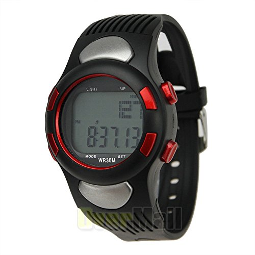 Fitness 3D Sport Wrist Watch Pulse Heart Rate Monitor Pedometer Calories Counter – Red