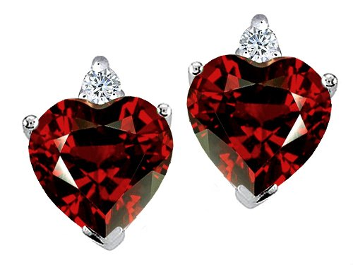 Diamond and Garnet Earring in 14k White Gold