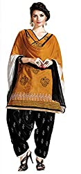 Dress Material Chanderi Dark Yellow Embroidered + Lace Unstitched