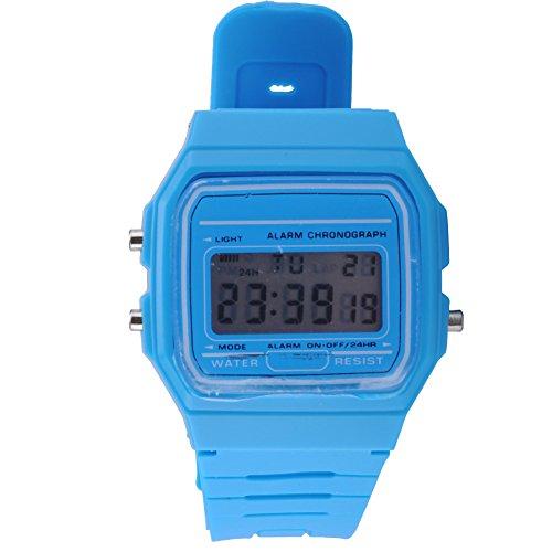 ATOZ Damen Mädchen Mode Gummi Silikon Band Digital Uhren Stoppuhr Armbanduhr (Blau)