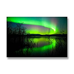 Neron Art - Hand painted Nature Oil Painting on Rolled Canvas for Living Room Wall Decor - Aurora Borealis VI 48X32 inch