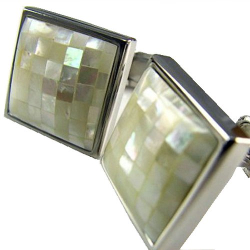 Worldfashion Natural Shellfish Exquisite Square Men's Lucky Cufflinks
