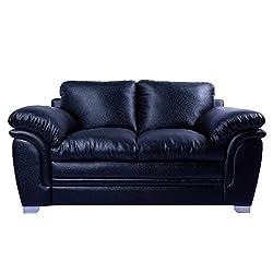 MOW 3+2 Black Leather Recron Sofa Set