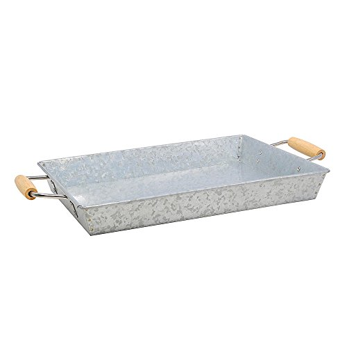 Essential Home Aged Galvanized Steel Rectangular Tray w/Wood Handle (Galvanized Steel Tray compare prices)