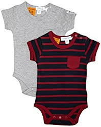 Pumpkin Patch Baby Boys' 2 Pack Stripe and Grey Marle Bodysuits, Orion Blue, Newborn