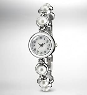 Faux Pearl Analogue Bracelet Watch