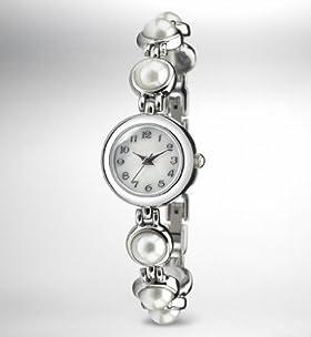 Faux Pearl Analogue Bracelet Watch