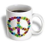 3dRose Peace Sign Flower Power Design Ceramic Mug, 11-Ounce