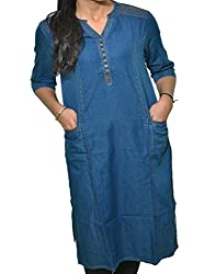 Mitra Creations Denim Kurti For Women-Navy_Blue_2Side_Pockets_Kurti_D003