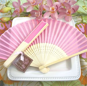 Set of 100 Pink, Blue or White Silk Fans Asian Outdoor Wedding Favors
