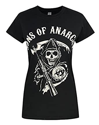 femmes official sons of anarchy t shirt v tements et accessoires. Black Bedroom Furniture Sets. Home Design Ideas