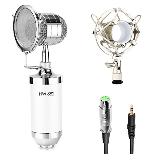 Neewer® Cardioid Condenser Broadcasting & Recording Microphone Kit includes: (1)White Condenser Microphone with Build-in Pop Filter+(1)Shock Mount +(1)3.5mm Male to XLR Female Cable (White Condenser Mic compare prices)
