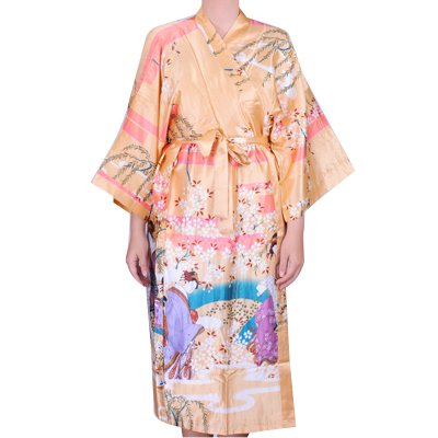 Japan Kimono Morgenmantel Bademantel Satin Bademantel Damen Geisha (gold)