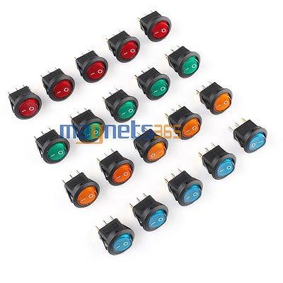 20 PCS LED Dot Light 12V Car Boat Auto Round ON/OFF Rocker Toggle SPST Switch (12 V Rocker Panel compare prices)