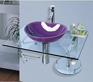 Purple vessel bathroom vanity glass vanity sink set 710 for Purple glass bathtub