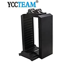 Playstation 4 Charger, YCCTEAM Multifunctional PS4 Games Tower & Dual Charger Stand Kit, Games Holder For PlayStation 4