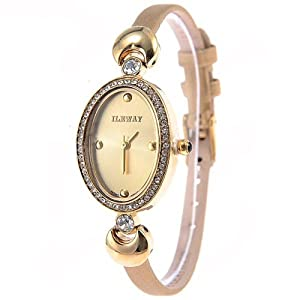(ILEWAY) ABL-8805 Elegant Genuine Leather Quartz Analog Watches Wrist Watches Timepieces with Rhinestones f Female - Gold SWWM3-224789