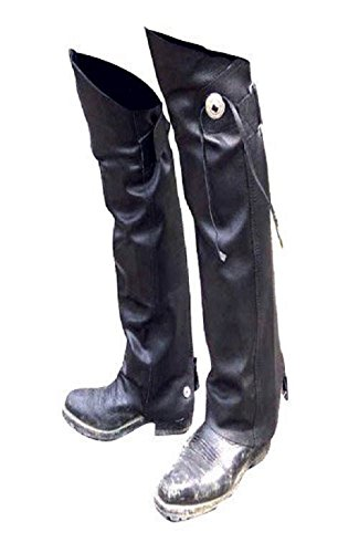 Leather MOTORCYCLE Half CHAPS Short Gaiter Leg Warmers Leggins NEW Gauchos YKK - WITH Concho & Fringe (XSmall to Small)