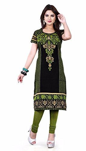 Printed LimeGreen Multi Long Tunics Kurti Top Short Sleeves TFMEK118