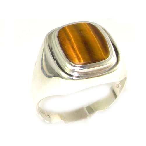 英国製 925 シルバー 天然 タイガーアイ メンズ シンプル スクエア シグネット リング 指輪 サイズ 18.5 各種サイズあり