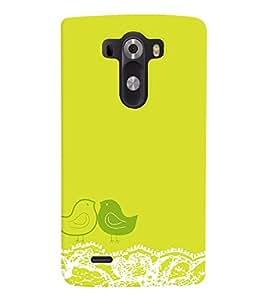 PrintVisa Corporate Print & Pattern Cute Birds Green 3D Hard Polycarbonate Designer Back Case Cover for LG G3