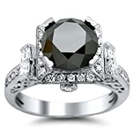3.40ct Black Round Diamond Engagement Ring 14k White Gold