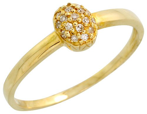 14ct Gold Oval Diamond Ring, w/ 0.10 Carat Brilliant Cut Diamonds, 1/4