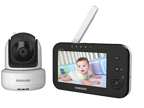 Samsung SEW-3041W Brilliant View Baby Monitoring System IR Night Vision PTZ, White, 4.3 Inch