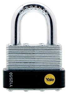 Yale Y125/50/129/1 Laminated Steel Padlock with Brass 5-Pin Key Cylinder, 2-Inch Wide at Sears.com