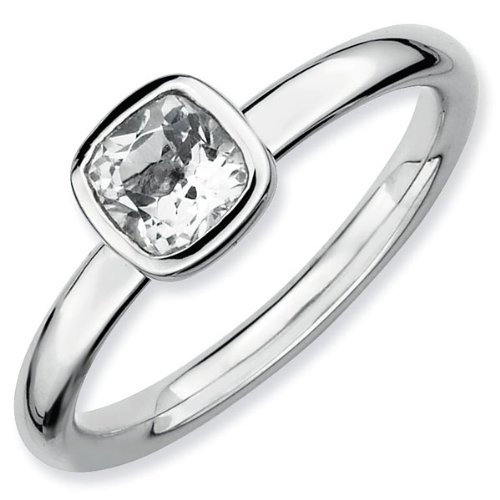 Cushion Cut White Topaz Stackable Ring - Size 5
