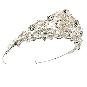 USABride Elegant Bridal Tiara Wedding Crown with Fresh Water Pearls & Crystal 219
