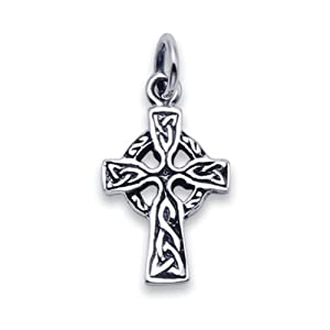 Sterling Silver Oxidised Celtic Iona cross pendant Necklace small - SIZE: 10mm x 14mm . Gift Boxed