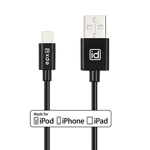 [Apple MFi Certified] epxid® Lightning to USB Cable 3.3ft / 1m with Ultra-Compact Connector Head for Apple iPhone 6s, 6 Plus 5s 5c 5, iPad Pro Air 2, iPad mini 4 3 2, iPod touch 5 6/ nano 7(Black)