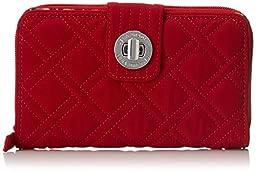 Vera Bradley Turn Lock Wallet, Tango Red, One Size