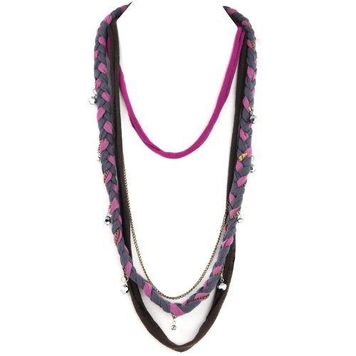 Soft Braided Fabric Layered Necklace - Crystal Cut Shimmery Beads - Brass Chain Link - Violet Pink Gray Fuschia & Brown