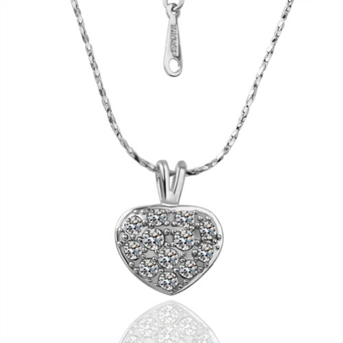 Virgin Shine Fashion Sparkling Heart Shpae Silver-Plate Necklace