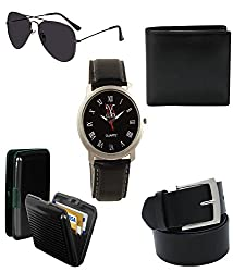 Combo of belt,watch,sunglass,wallet and cardholder gift set for boyfriend pack of 5