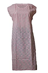 Tulip Collections Women's Cotton Straight Kurta,Baby Pink_L