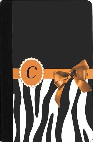 "Rikki Knighttm Letter "" C "" Orange Zebra Bow Monogram Design Design Kindle® Firetm Notebook Case Black Faux Leather (Not For Kindle Fire Hd) front-205172"