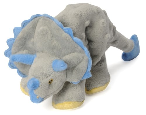 Godog Dinos 770798 Mini Grey Triceratops With Chew Guard Technology Tough Plush Dog Toy