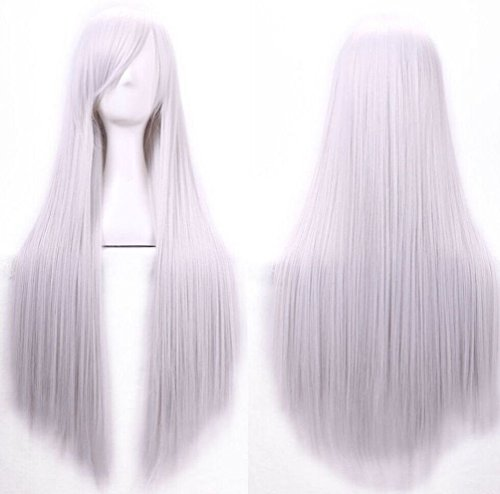 [Fashion 80cm Long Straight Cosplay Costume Party Hair Anime Wigs Full Hair Wigs] (Lime Green Wigs)