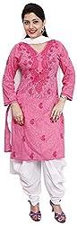R'ZU Women's Malmal Cotton Kurtas (S-66-5-1, Pink, 38)
